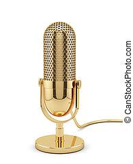 złoty, mikrofon, odizolowany