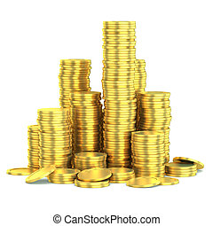złoty, monety, odizolowany