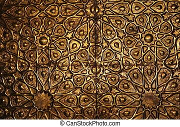 złoty, muslim, drzwi, meczet