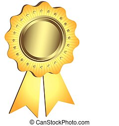 złoty, nagroda, wstążka, (vector)