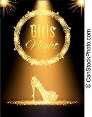 złoty, noc dziewczyn na zewnątrz, partia, poster., wektor, ilustracja