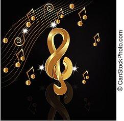 złoty, notatki, muzyczny, render
