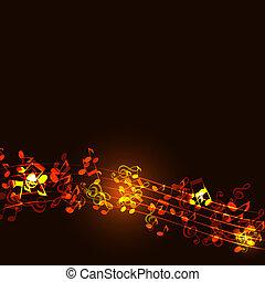 złoty, notatki, muzyka, abstrakcyjny, tło