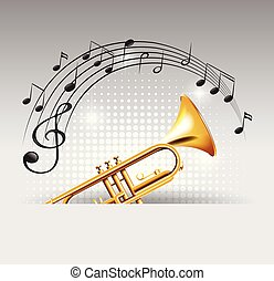 złoty, notatki, trąbka, tło, muzyka