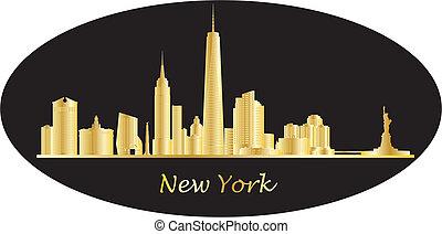 złoty, nowy, miasto, york
