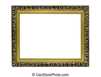 złoty, obraz budowa, portret, poziomy, albo, opróżniać