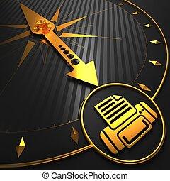 złoty, odbijacz, czarnoskóry, compass., ikona