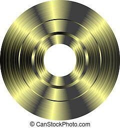złoty, odizolowany, rekord, winyl, tło, biały
