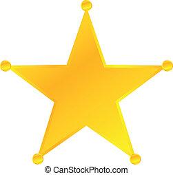 złoty, odznaka, gwiazda, szeryf