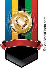złoty, olimpijski, medal, chorągiew, igrzyska