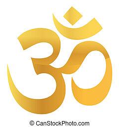 złoty, om, aum, symbol