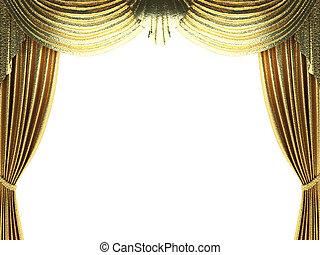 złoty, otwarcie, kurtyna, scena