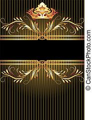 złoty, ozdoba, korona, luksusowy