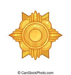 złoty, płaski, błyszczący, medal, albo, zwycięstwo, ...