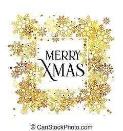 złoty, płatki śniegu, boże narodzenie, tło, projektować