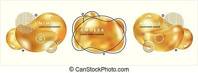 złoty, płyn, barwny, ameba, concept., nowoczesny, forma.,...