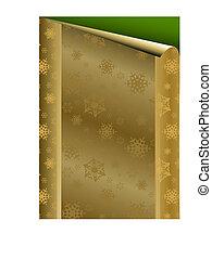złoty, papier, kartka na boże narodzenie