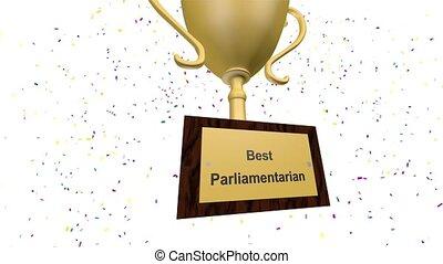 złoty, parliamentarian, nagroda, najlepszy, trofeum