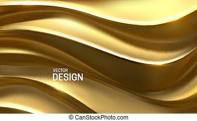 złoty, pattern., 3d, wektor, waves., illustration., curvy