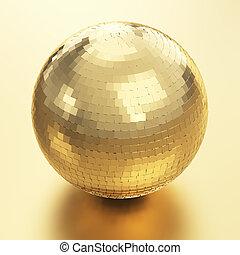 złoty, piłka, dyskoteka
