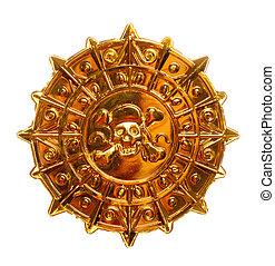 złoty, pirat, medalion
