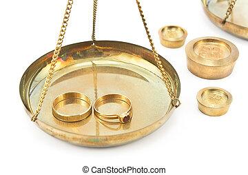 złoty, poślubne koliska, waga, skalpy