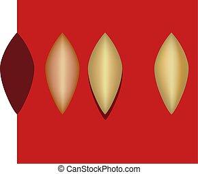 złoty, próbka, metal, kieszeń, torba, projektować, płatek