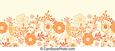 złoty, próbka, seamless, florals, tło, poziomy, brzeg