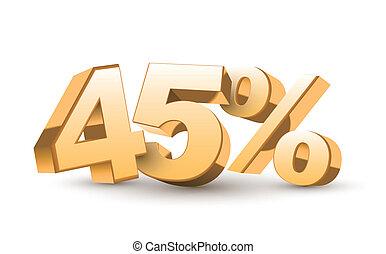 złoty, procent, 45, -, zbiór, dyskonto, błyszczący, 3d