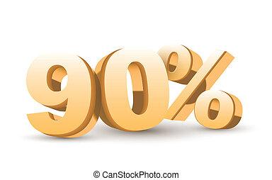 złoty, procent, -, zbiór, dyskonto, 90, błyszczący, 3d