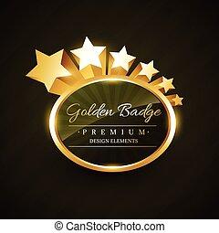 złoty, projektować, wektor, odznaka, gwiazdy