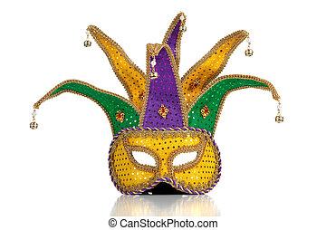 złoty, purpurowy, i, zielony, mardi, gra, maska