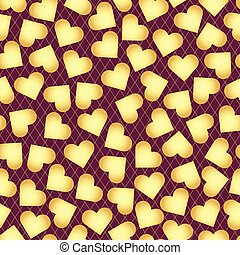 złoty, purpurowy, próbka, rozsiadły, seamless, valentine, randomly, serca