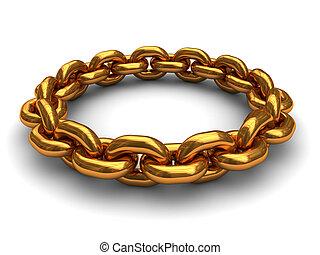 złoty, ring, łańcuch