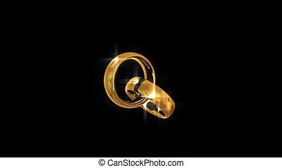 złoty, rings., looping., dwa, engagement.