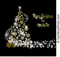 złoty, robiony, eps10, płatki śniegu, złoty, drzewo, ilustracja, tło., wektor, czarnoskóry, gwiazdy, boże narodzenie