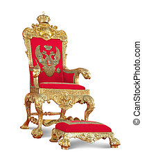 złoty, royalty\'s, throne., odizolowany, na białym, z,...