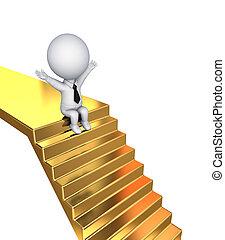 złoty, schodki., posiedzenie, osoba, mały, 3d