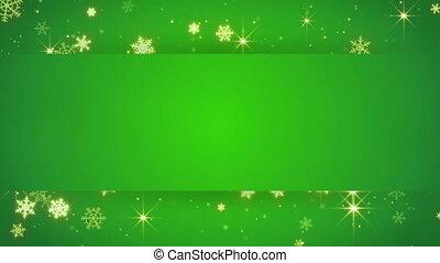złoty, seamless, opad śnieżny, zielone tło, chorągiew, pętla