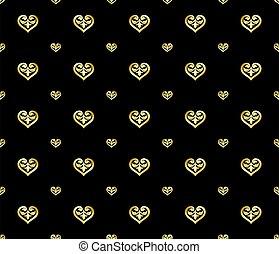 złoty, seamless, ozdoba, styl, serce, luksus, mający kształt, próbka