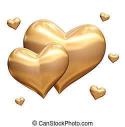 złoty, serca, 3d