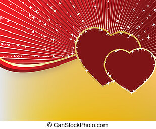 złoty, serca, dwa, gwiazdy