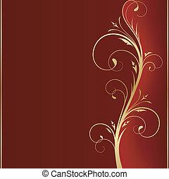 złoty, skwer, zakrętasy, przestrzeń, ręka, ciemny, message., dobry, tło, twój, czerwony, bok
