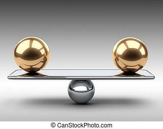 złoty, spheres., między, dwa, waga, wielki
