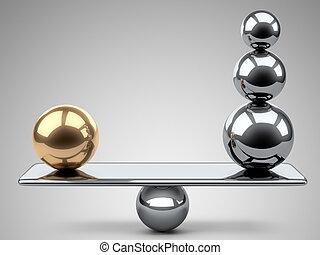 złoty, spheres., między, waga, stal, wielki