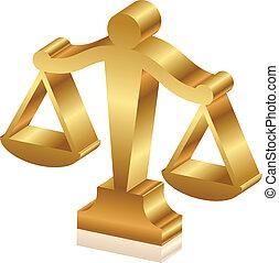 złoty, sprawiedliwość, wektor, sc, 3d, ikona