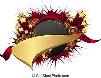 złoty, starburst, krążek, hokej, proporzec, czerwony