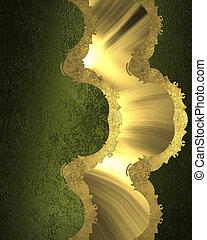 złoty, struktura, element, zielony, szablon, cutout, design.
