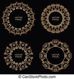 złoty, styl, komplet, szkic, ułożyć, cztery