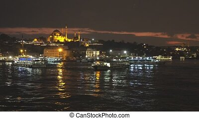 złoty, suleymaniye, turysta, istambuł, meczet, prospekt, ...